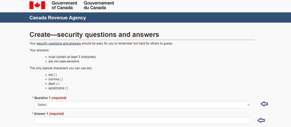 CRA security questions